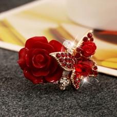 Alkalmi gyűrű rózsával és kristály kövekkel több színben