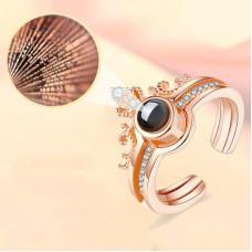 Különleges gyűrű 100 nyelven beleírt Szeretlek felirattal a gyöngyben