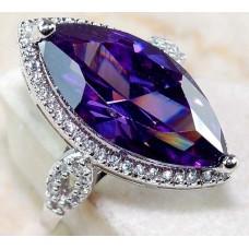 Ovális lila kővel ékesített ezüst gyűrű