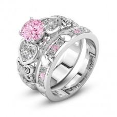 Kristályköves gyűrű és kísérőgyűrű két színben