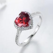 Piros szív alakú kristályköves ezüst gyűrű