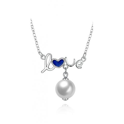 Ezüst nyaklánc  love  medállal és gyöngy függelékkel f26b94baec