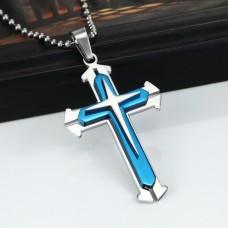 Rozsdamentes acél nyaklánc kereszt medállal kék színben
