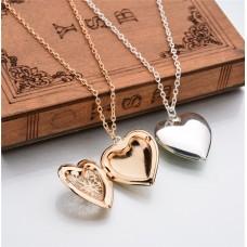 Fotókeretes szív medálos nyaklánc arany vagy ezüst színben