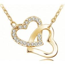 Arany vagy ezüst színű dupla szív medálos nyaklánc
