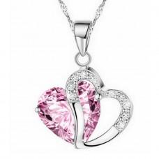 Szív medálos szív kristályköves nyaklánc több színben